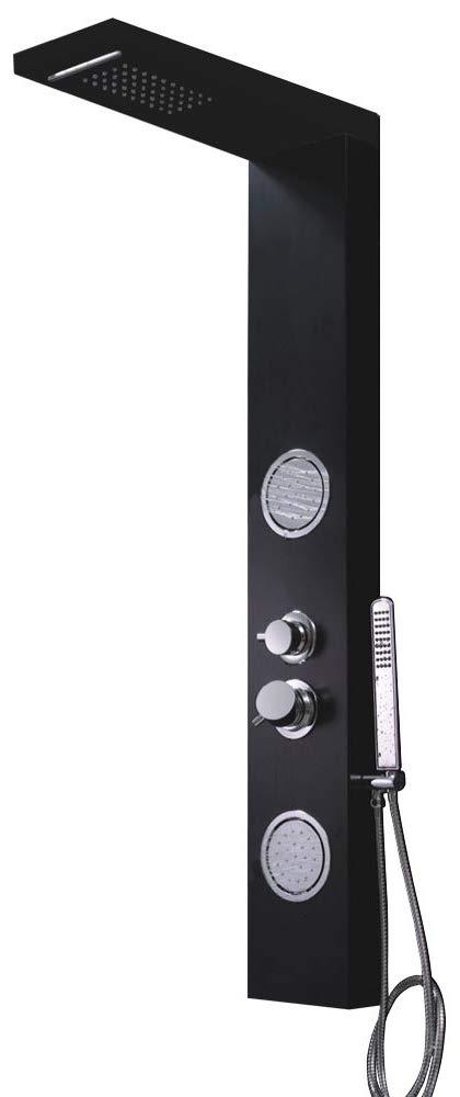 Aluminium Shower Panel Shower Column Thermostat Waterfall Massage Black Sanlingo