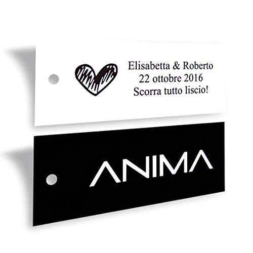 Wunderlabel Personalized Custom Customize Rectangular Hang Tag Label for Crafting Gifting Packaging Fabric Material Paper Ribbon Ribbons Art Fashion Beautiful Classic Tags, 50 Labels