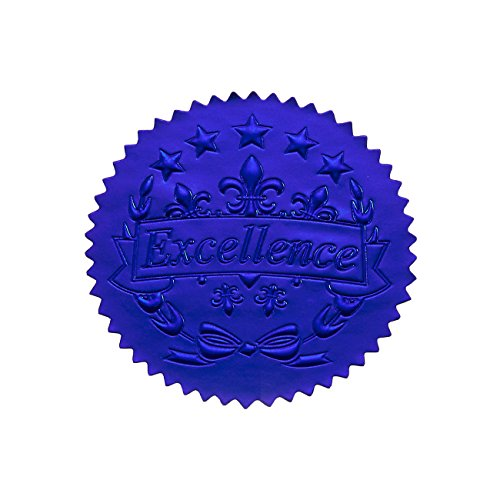 Award Stickers (96 Award Stickers - Blue Certificate Seals, Excellence Star Stickers for Award Certificates)