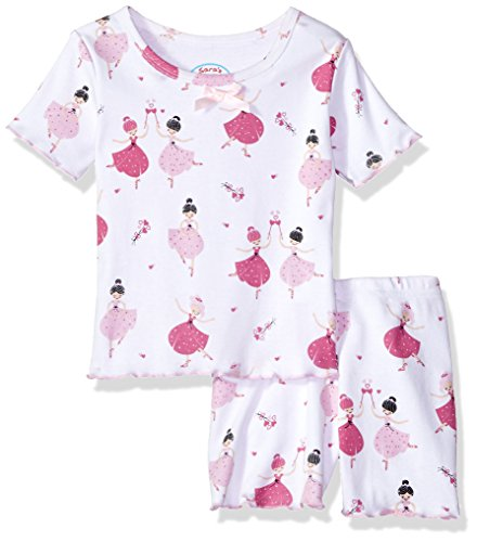 Sara's Prints Little Girls' Fitted Short Pajamas, Petite Ballet, 2