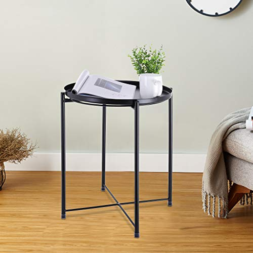 C-Easy Simple Style Wrought Iron Small Round Table Coffee Table Side Table. Tray Metal End Table, Sofa Table Small Round SideTables, Anti-Rusty. Black