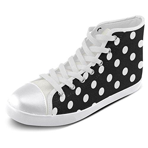 Artsadd Custom Black Polka Dots High Top Zapatos De Lona Para Hombres (model002)