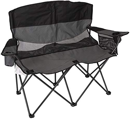 STANSPORT - Apex Double Camping Chair, Collapsible Double Folding Chair for Outdoor Use (Gray) (Chair Two Beach Person)