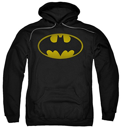 Hoodie: Batman - Washed Bat Logo Pullover Hoodie Size (Washed Logo Mens Hoodie)