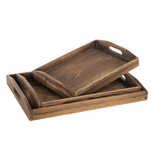MyGift Set of 3 Nesting Brown Wood Serving Trays with Cutout Handles ()
