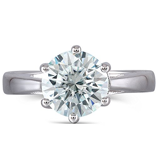 DOVEGGS 2ct 8mm Round Cut 2.6mm Band Width Moissanite Engagement Ring Platinum Plated Sterling Silver