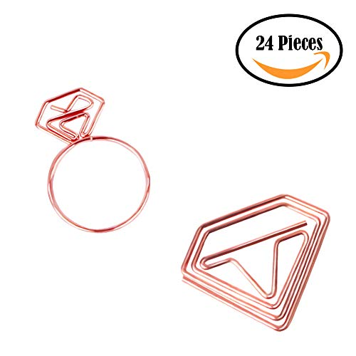 Joyci 24-Pack Rose Gold Diamond and Ring Shaped Office Clip Book Page Marker Bookmark Couple's Romantic Photo Clip