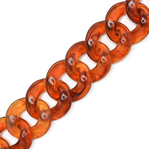 22 x 24mm Acrylic Chain Open Links, Plastic Chain Links, Purse Handle Chain, by Yard, TR-12146 ()
