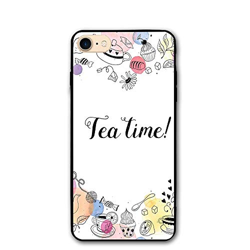 Haixia iPhone 7/8 Phone Shell 4.7 Inch Tea Party Cute Doodle Style Frame with Tea Time Retro Lettering Cups Sweets Colorful Dots Decorative