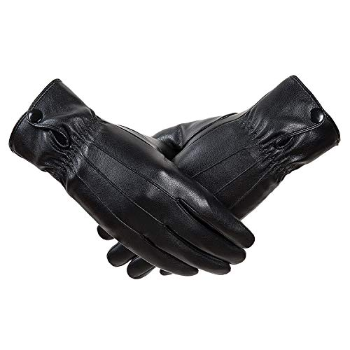 - QNLYCZY Winter women's classic leather touch screen texting plus velvet warm driving leather gloves (super soft lining)