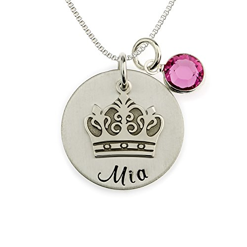 My Little Princess Personalized Sterling Silver Name Necklace. Customize with Child's Name, with Dangling Crown Charm. Includes Choice of Birthstone and 925 Chain. Gifts for Her, New Mom