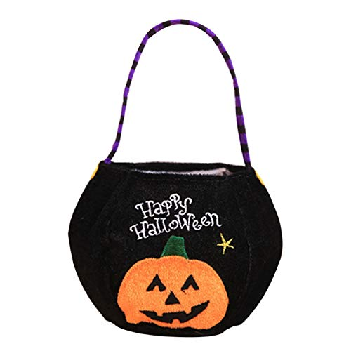 (Candy Bag Halloween Party Holiday DIY Decorations Basket Pumpkin Vampire Witch Storage Event Case,Black)