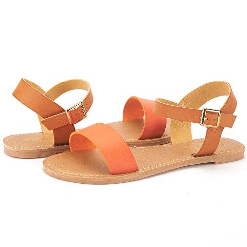 Paio Di Sogni Donna Open Toe Cinturino Alla Caviglia Flessibile Sandali Piatti Estivi New Hoboo-orange Tan