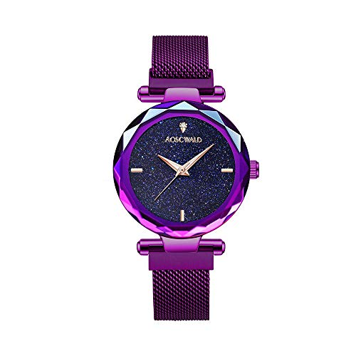 - AOSCWALD Fashion Analogue Quartz Purple Ladies Watches Magnetic Mesh Band Starry Sky Dial Simulated Diamond Waterproof Wrist Watch for Women (Purple)