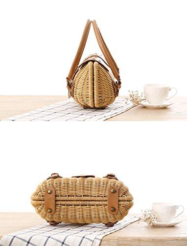 Wicker Vintage Handbag Knitting Woven Bags Basket GIFT Totes Erin Beige Rattan Shopping Basket SCOFEEL 4EH5wq