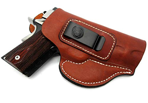 "Right Hand IWB Inside Pants Clip-On Concealment Holster in Brown Leather for 4"" Nonrail 1911 KIMBER COMPACT CDP II, PRO CDP II, ULTRA AEGIS II, PRO TLE II, PRO CARRY II, ECLIPSE PRO II"