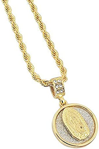 "Fashion Hip Hop 14K Gold Plated Guadalupe 24/"" Rope Chain Pendant Necklace Set"