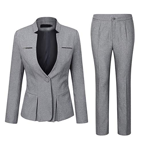 Women's Elegant Business Two Piece Office Lady Suit Set Work Blazer Pant (Suit Set-Light Grey, XL)