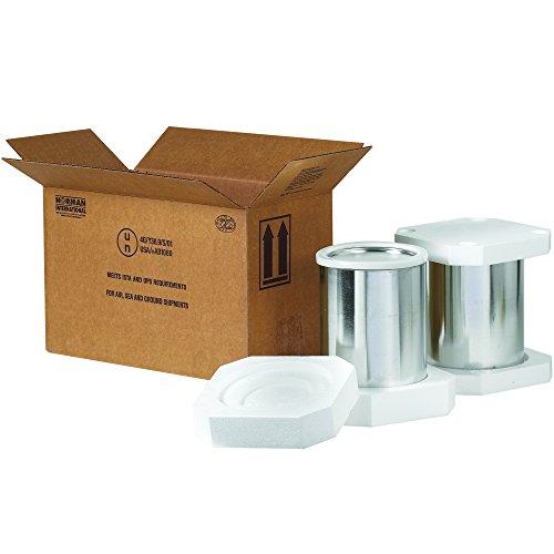 """BOX USA BHAZFS2G Foam Haz Mat Shipper Kit, 2 - 1 gal, 17"""" x 8 1/2"""" x 9 5/16"""", Kraft"""