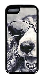 linfengliniPhone 5c case, Cute Sunglass Dog iPhone 5c Cover, iPhone 5c Cases, Soft Black iPhone 5c Covers