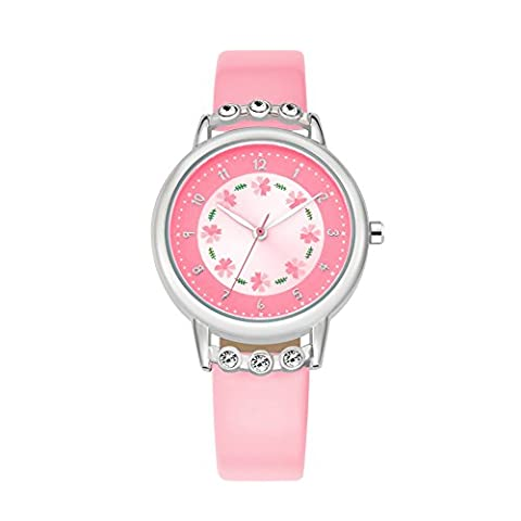 Kids Time Teacher Wrist Watch Student Analog PU Band Watches Pink (Pink Tag Watch)
