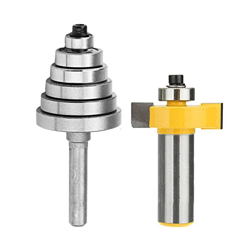Yakamoz 1/2 Inch Shank Rabbeting Router Bit with 6 Bearings Set for Multiple Depths 1/8