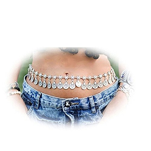 FULLIN Belly Dance Metal Dangling Coins Tassel Waist Chains Bohemian Belt Adjustable For Women Dangling Belly Chain