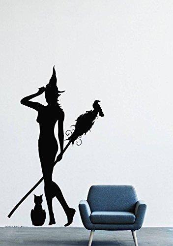 Halloween Wall Decals – Vinyl Halloween Stickers for Men Kids – Horror Stickers Tree Autumn Branch Silhouette bat Animal is Flying Predator Silhouette
