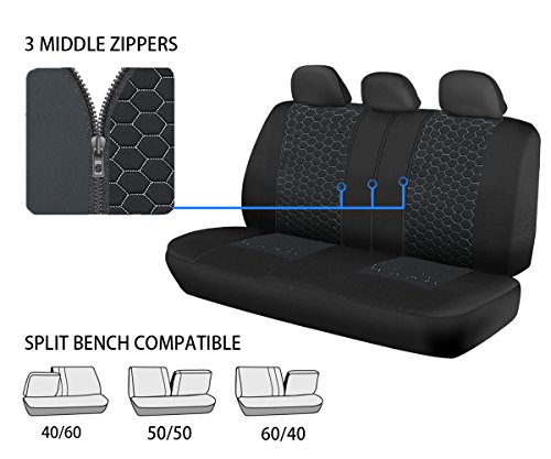 Car Seat Covers Unique Flat Cloth Fabric Seat Covers Breathable Full Set Front Back Cover With 5 Detachable Headrests Fit Most Car Truck Suv Or Van