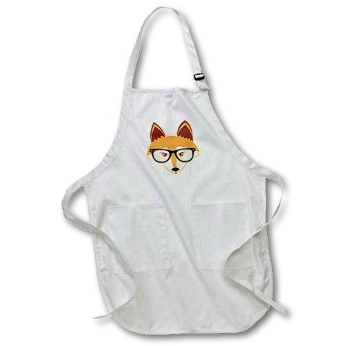 Delantal de cocina para mujer lindo Hipster zorro rojo con anteojos patrón delantales para niñas cintura cintas de cuello...