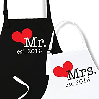 Mr. And Mrs. Aprons Est. 2016 with Heart Wedding Gift for Couples