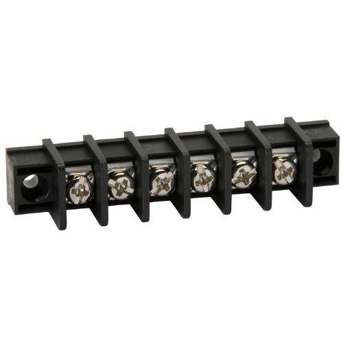 NTE Electronics 25-B100-06 Series 25-B100 Terminal Block Barrier Strip, Solder Lug Type, 25 Amp, 6 Pole, 9.50 mm Pitch, 300V, 22-12 AWG Wire Range