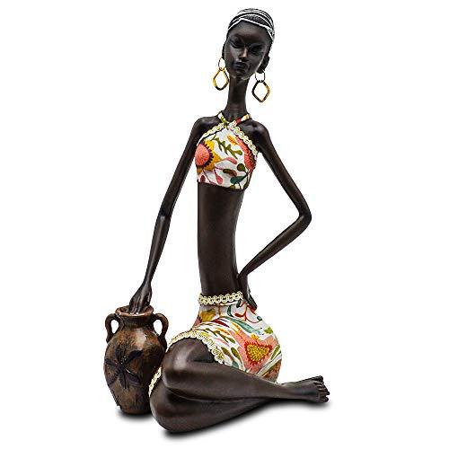 Statue African Figurine Sculpture Colorful Dress Sitting Lady Figurine Vase Statue Decor Collectible Art Piece 15 .5