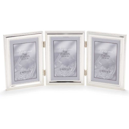 Lawrence Frames Hinged Triple (Vertical) Metal Picture Frame Silver-Plate with Delicate Beading, 5 by ()