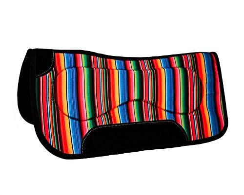Showman 31″ x 32″ 18mm Multi-Color Serape Wool Felt Mix Build Up Western Saddle Pad
