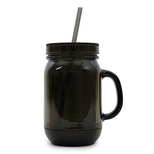 NuFazes 20 Oz Black Mason Jar Doubled Wall Acrylic Cup with Straw - 6 Pack