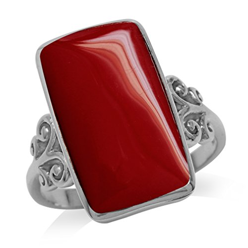 Created Red Coral Inlay White Gold Plated 925 Sterling Silver Swirl & Spiral Ring Size 8 (Coral Red Ring Inlay)