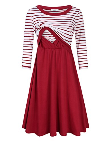 Coolmee Maternity Dress Women's Stripe 3/4 Sleeve Nursing Dress for Breastfeeding Burgundy-long XL