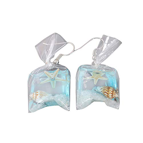 Afco Funny Goldfish Water Bag Dangle Hook Earrings Girl Charm Christmas Gift (Sea Star)