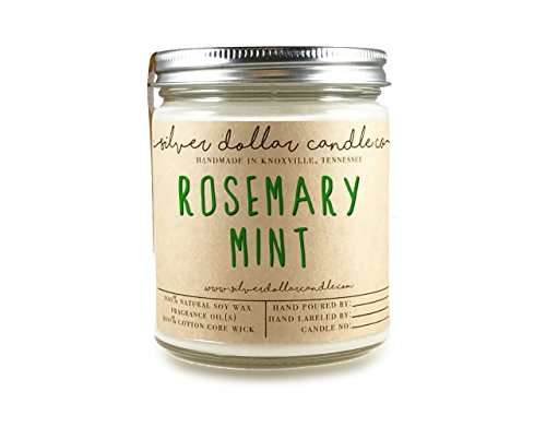 Handmade Lead - Rosemary Mint 8oz Soy Candle - Hand-Poured Natural Soy Wax Candle by Silver Dollar Candle Co.