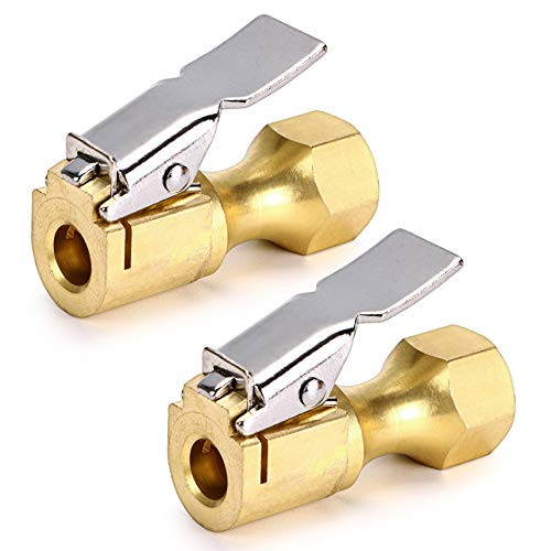 OwnMy Pack of 2 Closed Flow Straight Lock-On Air Chuck with Clip for Tire Inflator and Gauges, Heavy Duty Brass 1/4