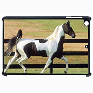 Customized Back Cover Case For iPad Air 5 Hardshell Case, Black Back Cover Design Horse Personalized Unique Case For iPad Air 5