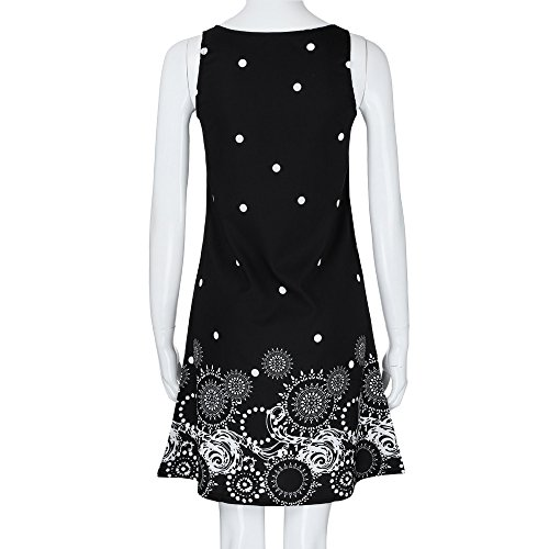 Manches Noir de Party Ete Chic Femme Chemise de Vintage Robe Robe Prom Mousseline Sexy Robe LEvifun Mini Dress Imprim Tunique Couleur Soiree sans Robe Plage Cocktail Pure Robe Sundress CzqfZt