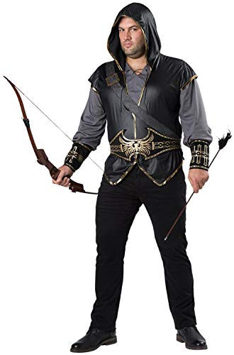 Fun World Men's Plus-Size Hooded Huntsman Costume, Grey/Black, 3XL]()