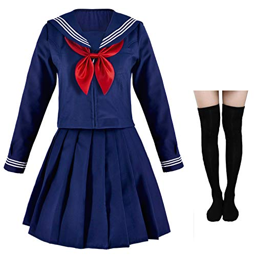 Japanese Sailor School Uniform Costume Anime Cosplay Navy Dress Lolita Suit with Socks Set Long Sleeves(S = Asia M) (Navy Blue Knee High Socks With Bows)