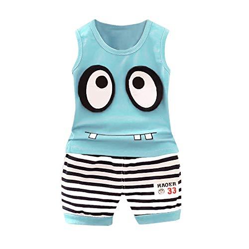Boy Summer Sports Suit Baby Cartoon Big Eyes Monster Vest T-Shirt Tops+ Striped Shorts Set(6Months-3Years) SIN vimklo Sky Blue ()