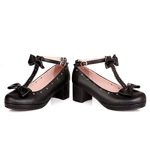 1TO9 donna fibbia spun Gold Bowknot round-toe gomma pumps-shoes, Nero (Black), 35