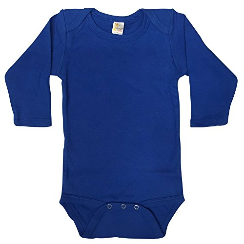 Screen Print Onesie - Laughing Giraffe Blank Cotton Long Sleeve Baby Boy Bodysuit One Piece (0-3M, Royal Blue)