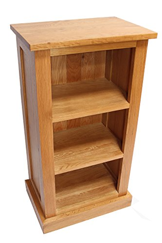 Oak Bookcase Two Fixed Shelf Storage Unit Solid Oak