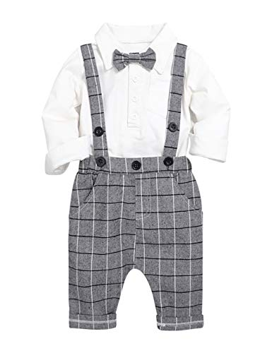 Boutique Clothes For Boys (Baby Boys Gentleman Outfits Suits, Infant Long Sleeve Shirt+Bib Pants+Bow Tie Overalls Clothes)